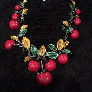 Betsy Johnson Cherry Necklace Adjustable Clasp